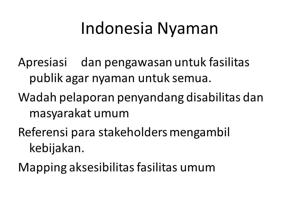 Indonesia Nyaman Apresiasi dan pengawasan untuk fasilitas publik agar nyaman untuk semua. Wadah pelaporan penyandang disabilitas dan masyarakat umum R