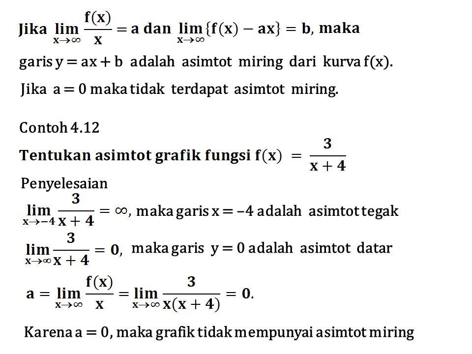 Jika a = 0 maka tidak terdapat asimtot miring. garis y = ax + b adalah asimtot miring dari kurva f(x). Contoh 4.12 Penyelesaian maka garis x = –4 adal