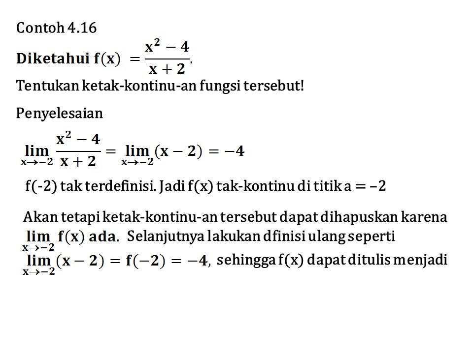 Contoh 4.16 Tentukan ketak-kontinu-an fungsi tersebut! Penyelesaian f(-2) tak terdefinisi. Jadi f(x) tak-kontinu di titik a = –2 Akan tetapi ketak-kon