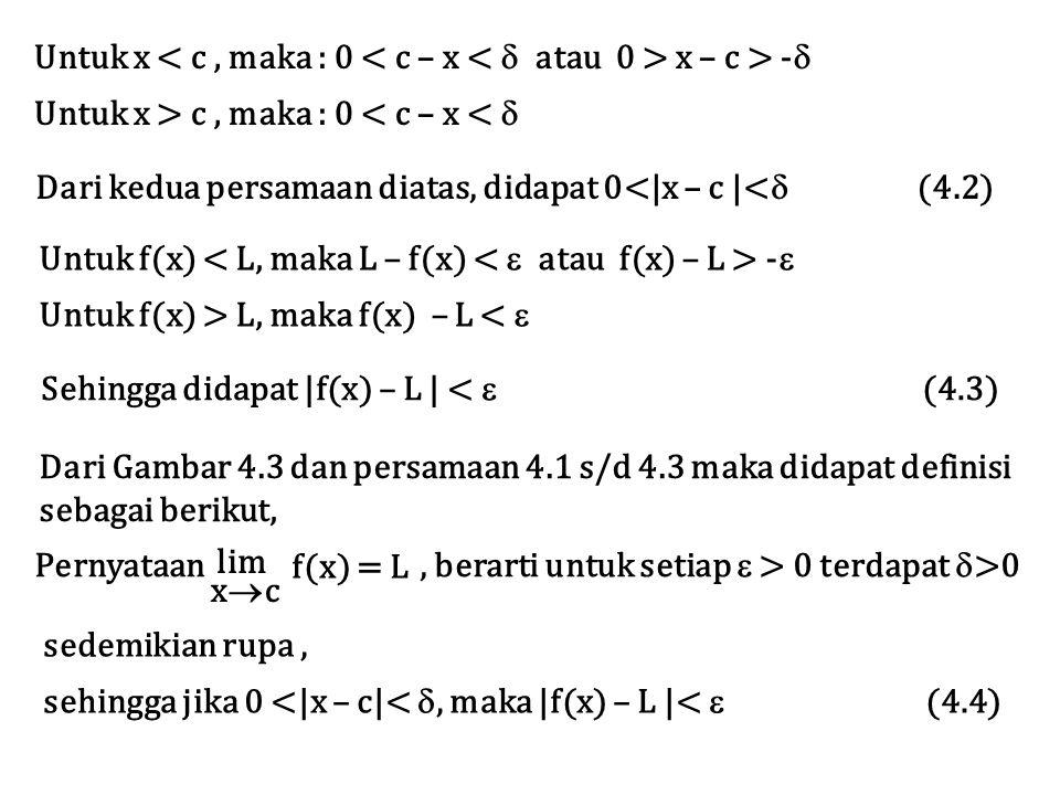 Untuk x x – c > -  Untuk x > c, maka : 0 < c – x <  Dari kedua persamaan diatas, didapat 0<|x – c |<  (4.2) Untuk f(x) -  Untuk f(x) > L, maka f(x) – L <  Sehingga didapat |f(x) – L | <  (4.3) Dari Gambar 4.3 dan persamaan 4.1 s/d 4.3 maka didapat definisi sebagai berikut, Pernyataan, berarti untuk setiap  > 0 terdapat  >0 lim xcxc f(x) = L sedemikian rupa, sehingga jika 0 <|x – c|< , maka |f(x) – L |<  (4.4)