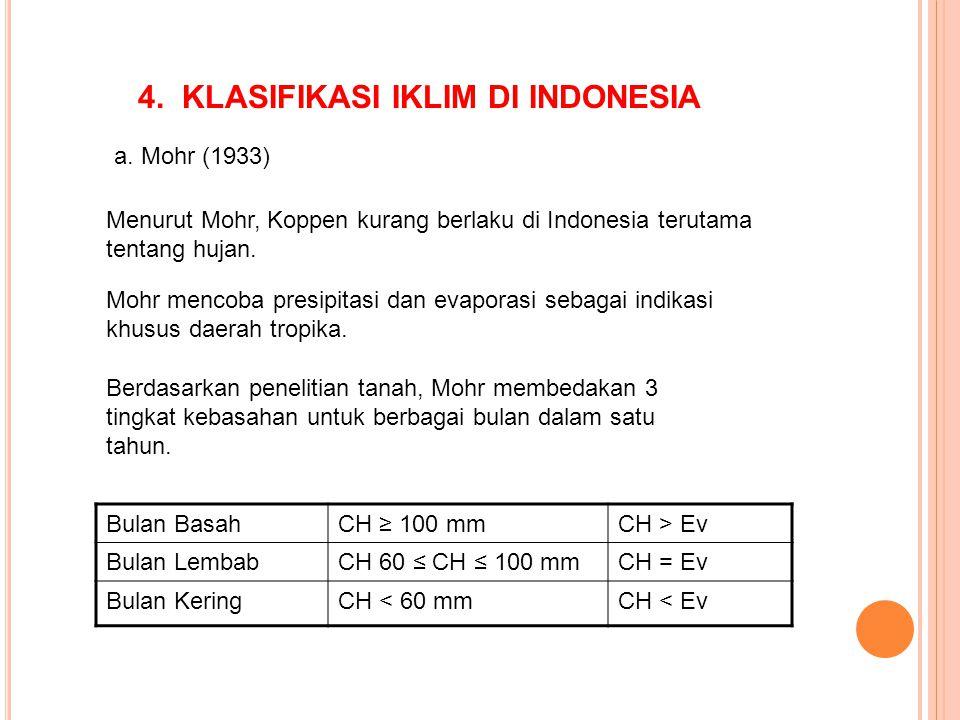 4. KLASIFIKASI IKLIM DI INDONESIA a. Mohr (1933) Menurut Mohr, Koppen kurang berlaku di Indonesia terutama tentang hujan. Mohr mencoba presipitasi dan
