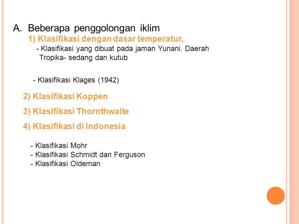 A. Beberapa penggolongan iklim 1) Klasifikasi dengan dasar temperatur, - Klasifikasi yang dibuat pada jaman Yunani. Daerah Tropika- sedang dan kutub -