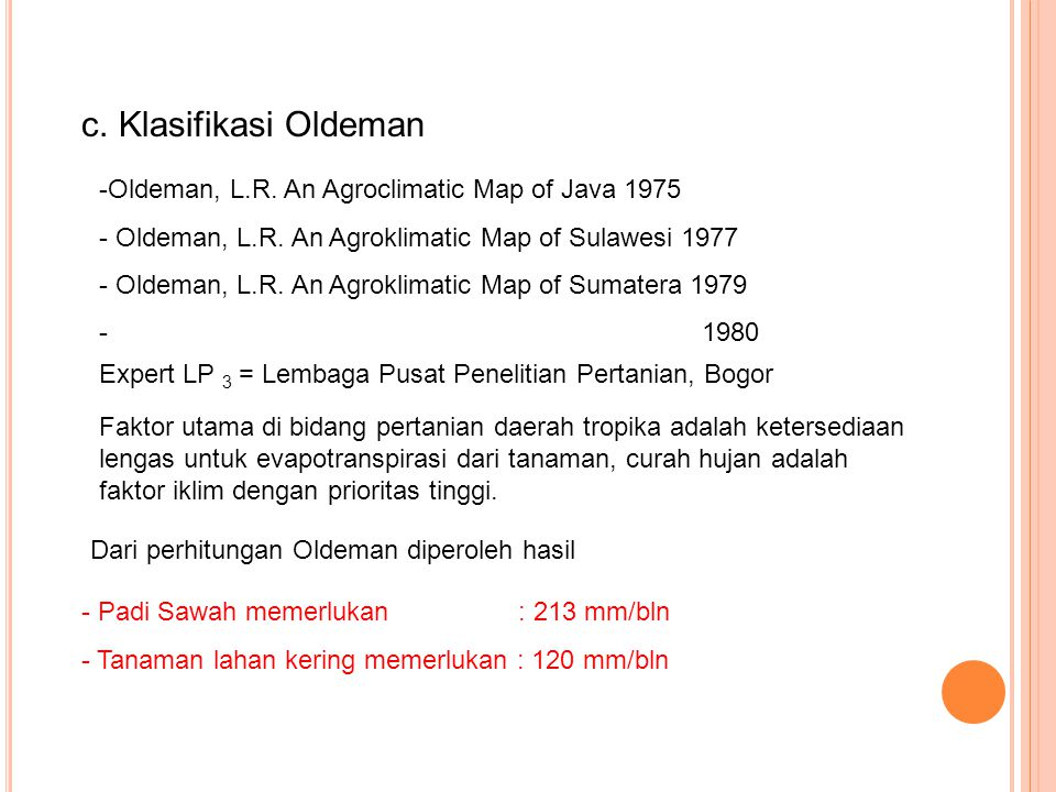 c. Klasifikasi Oldeman -Oldeman, L.R. An Agroclimatic Map of Java 1975 - Oldeman, L.R. An Agroklimatic Map of Sulawesi 1977 - Oldeman, L.R. An Agrokli