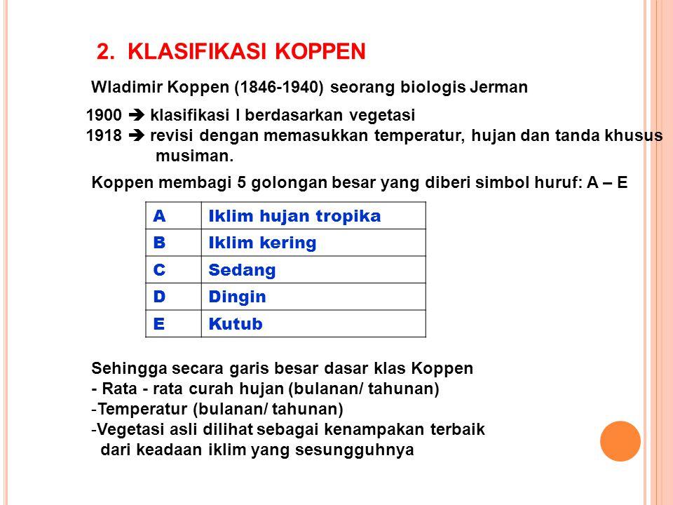 2. KLASIFIKASI KOPPEN Wladimir Koppen (1846-1940) seorang biologis Jerman 1900  klasifikasi I berdasarkan vegetasi 1918  revisi dengan memasukkan te