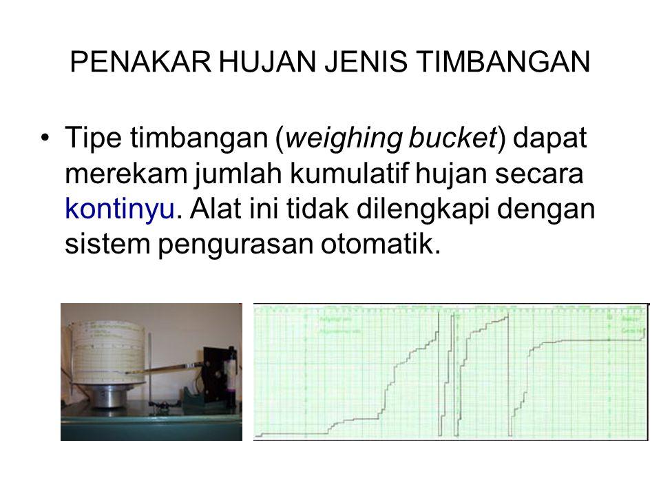 PENAKAR HUJAN JENIS TIMBANGAN Tipe timbangan (weighing bucket) dapat merekam jumlah kumulatif hujan secara kontinyu. Alat ini tidak dilengkapi dengan