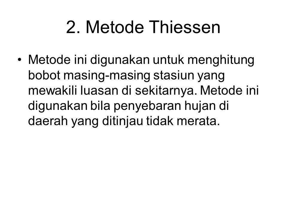 2. Metode Thiessen Metode ini digunakan untuk menghitung bobot masing-masing stasiun yang mewakili luasan di sekitarnya. Metode ini digunakan bila pen