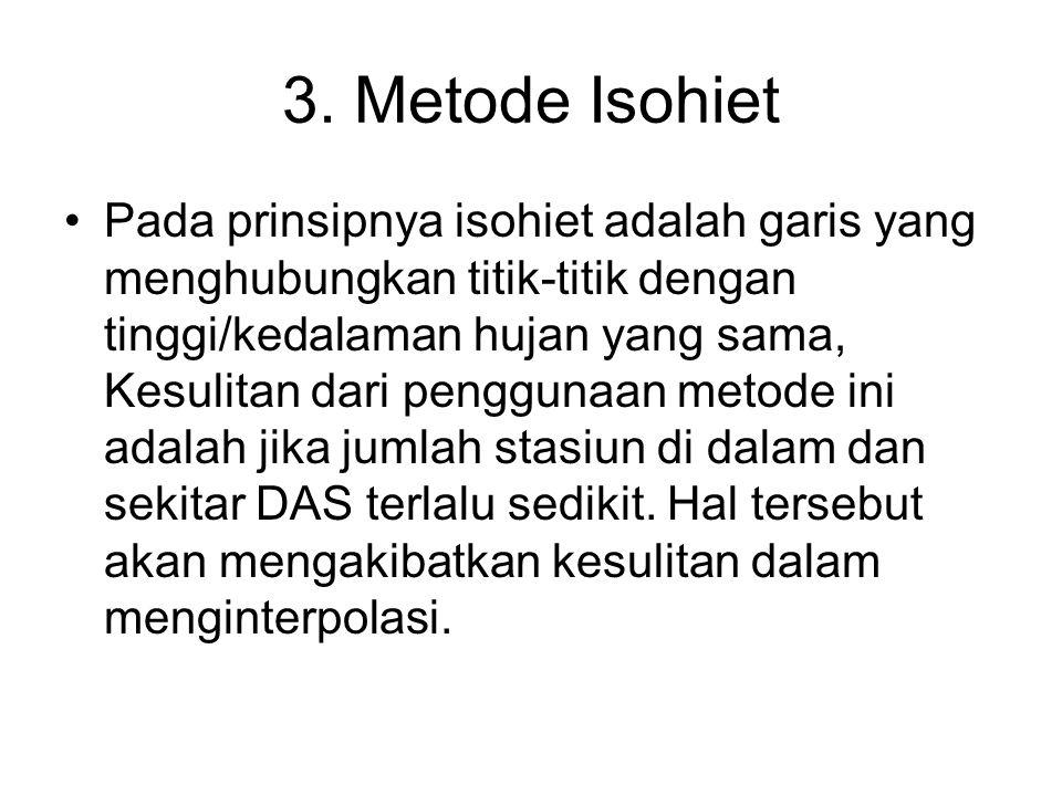 3. Metode Isohiet Pada prinsipnya isohiet adalah garis yang menghubungkan titik-titik dengan tinggi/kedalaman hujan yang sama, Kesulitan dari pengguna