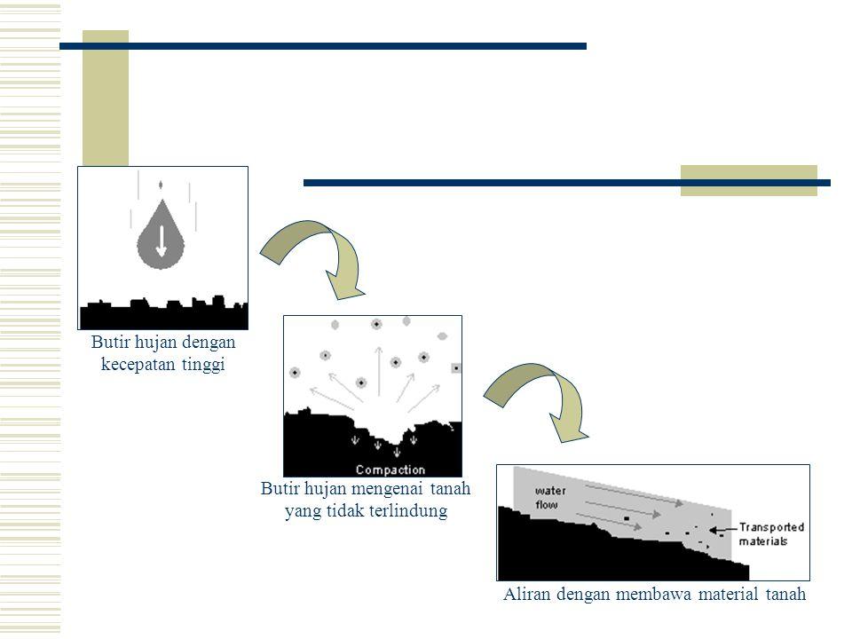 Dh: Penghancuran struktur tanah menjadi butir-butir primer oleh energi tumbukan butir hujan yang menimpa tanah. Dl:Penghancuran struktur tanah Th:Pere