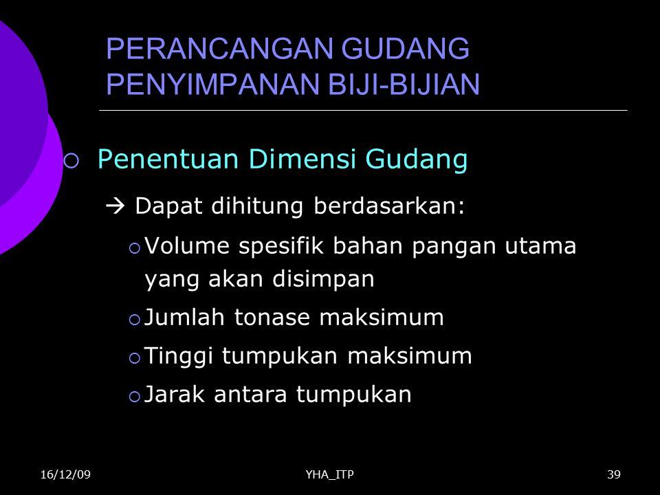 YHA_ITP39 PERANCANGAN GUDANG PENYIMPANAN BIJI-BIJIAN  Penentuan Dimensi Gudang  Dapat dihitung berdasarkan:  Volume spesifik bahan pangan utama yan