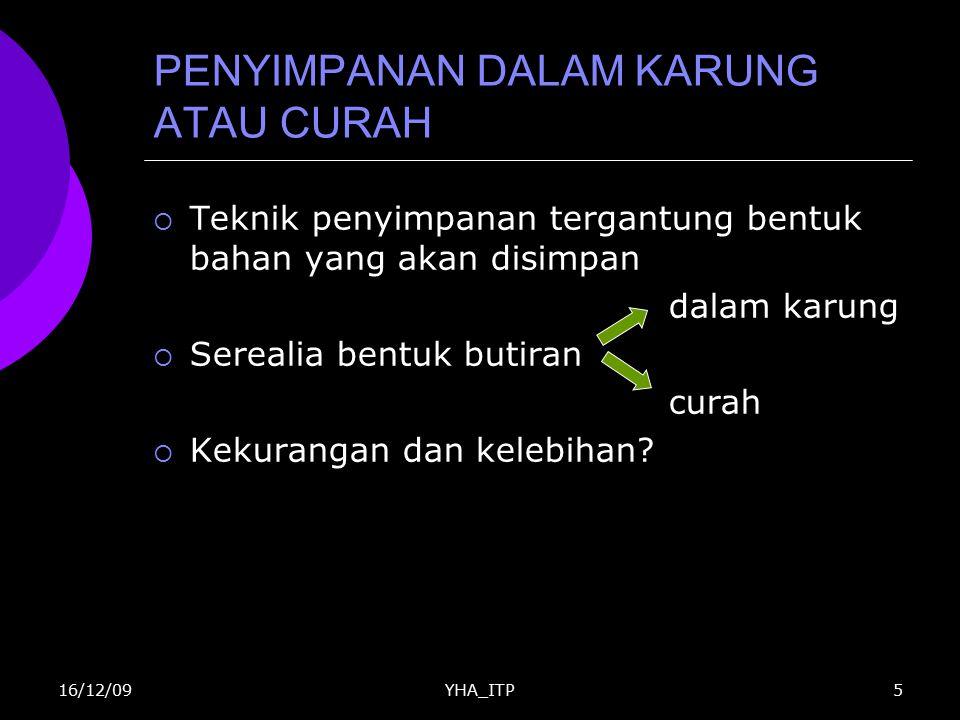 YHA_ITP6 PENYIMPANAN DALAM KARUNG ATAU CURAH Tabel 1.