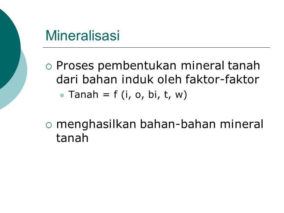 Mineralisasi  Proses pembentukan mineral tanah dari bahan induk oleh faktor-faktor Tanah = f (i, o, bi, t, w)  menghasilkan bahan-bahan mineral tana