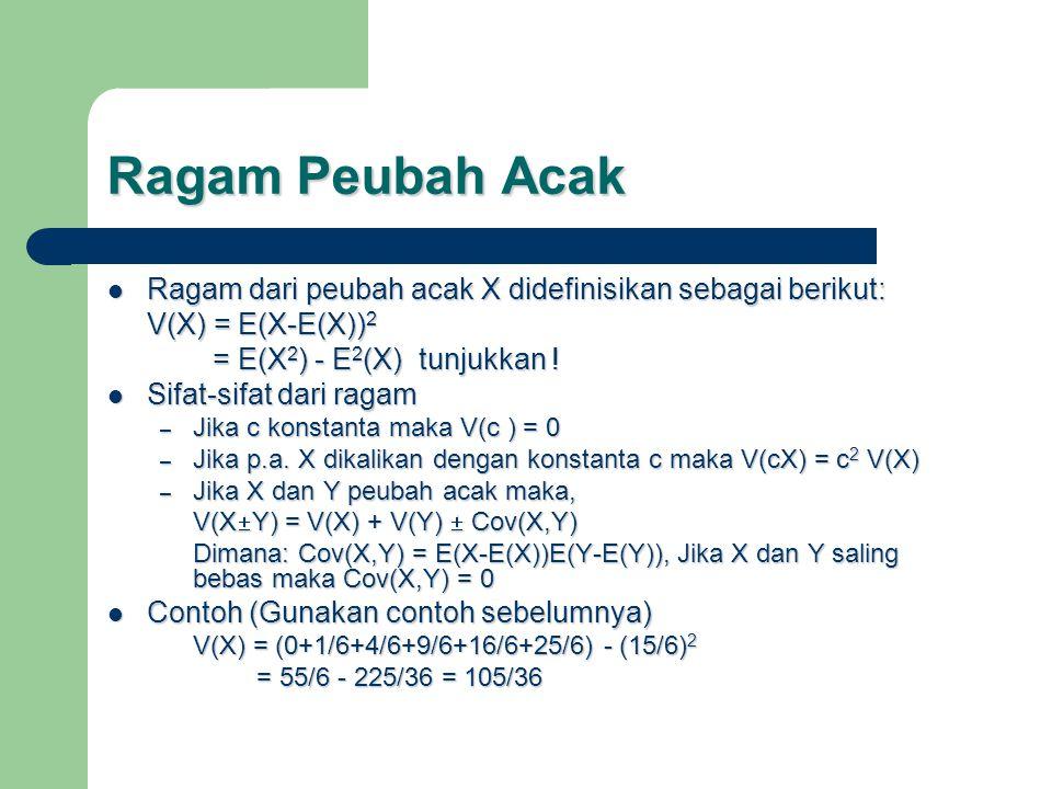 Ragam Peubah Acak Ragam dari peubah acak X didefinisikan sebagai berikut: Ragam dari peubah acak X didefinisikan sebagai berikut: V(X) = E(X-E(X)) 2 = E(X 2 ) - E 2 (X) tunjukkan .