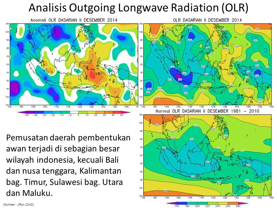 Analisis Outgoing Longwave Radiation (OLR) Pemusatan daerah pembentukan awan terjadi di sebagian besar wilayah indonesia, kecuali Bali dan nusa tenggara, Kalimantan bag.