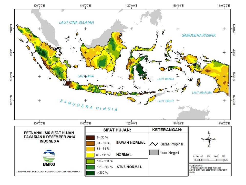 NORMAL DM (+) Kuat DM (-) Kuat Aliran massa uap air dari Indonesia ke Afrika Timur Aliran massa uap air dari Afrika Timur ke Indonesia BMKG PREDIKSI INDEKS DIPOLE MODE (UPDATE 22 DESEMBER 2014 PREDIKSI INDEKS DIPOLE MODE (UPDATE 22 DESEMBER 2014) Kesimpulan: Prediksi Indeks Dipole Mode Desember 2014 s/d Mei 2015: Normal/penambahan Curah Hujan kurang signifikan di Indonesia bagian barat.