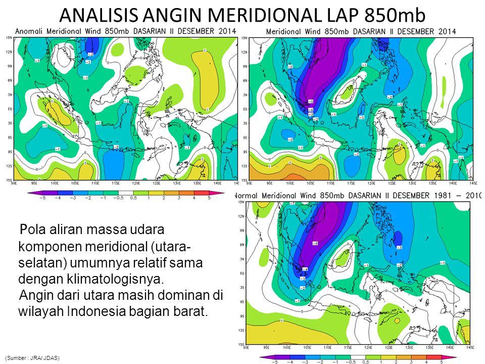 ANALISIS ANGIN MERIDIONAL LAP 850mb P ola aliran massa udara komponen meridional (utara- selatan) umumnya relatif sama dengan klimatologisnya.