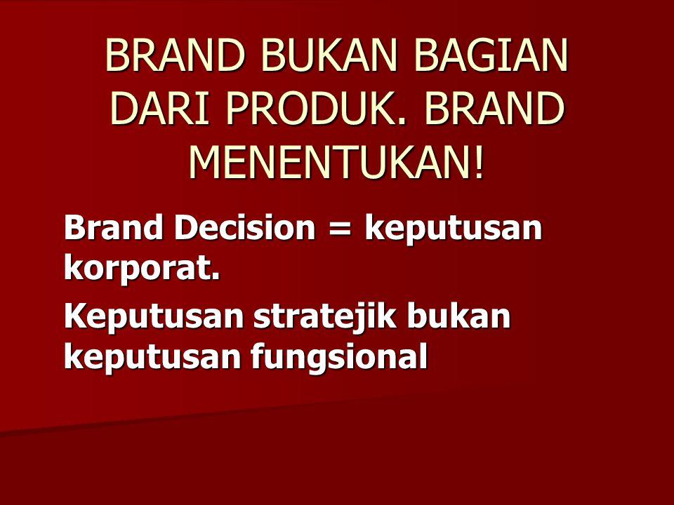 BRAND BUKAN BAGIAN DARI PRODUK. BRAND MENENTUKAN! Brand Decision = keputusan korporat. Keputusan stratejik bukan keputusan fungsional