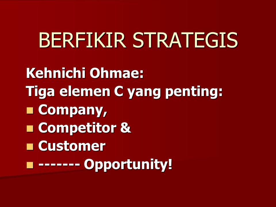 BERFIKIR STRATEGIS Kehnichi Ohmae: Tiga elemen C yang penting: Company, Company, Competitor & Competitor & Customer Customer ------- Opportunity.