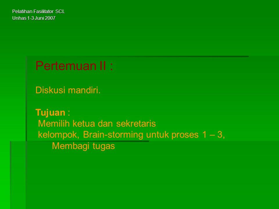 Pertemuan II : Diskusi mandiri. Tujuan : Memilih ketua dan sekretaris kelompok, Brain-storming untuk proses 1 – 3, Membagi tugas Pelatihan Fasilitator