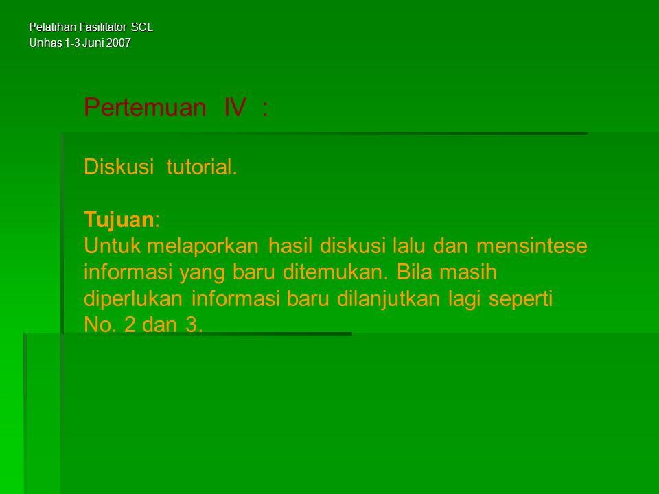Pertemuan IV : Diskusi tutorial. Tujuan: Untuk melaporkan hasil diskusi lalu dan mensintese informasi yang baru ditemukan. Bila masih diperlukan infor