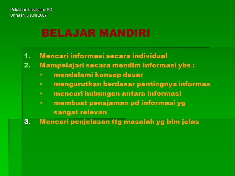 BELAJAR MANDIRI 1. 1.Mencari informasi secara individual 2. 2.Mampelajari secara mendlm informasi ybs :  mendalami konsep dasar  mengurutkan berdasa