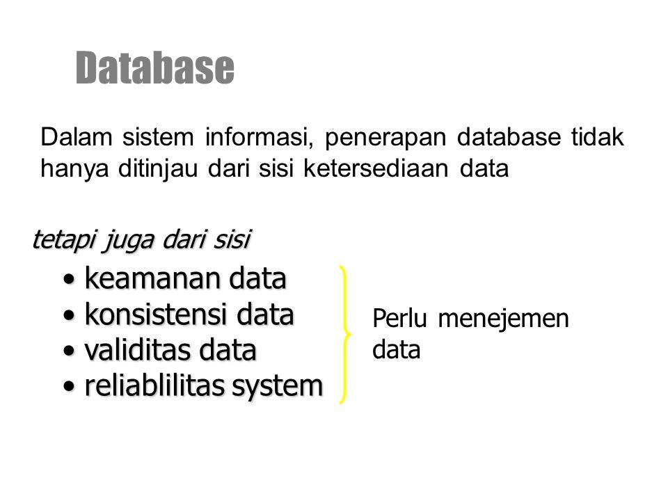 Dalam sistem informasi, penerapan database tidak hanya ditinjau dari sisi ketersediaan data Database tetapi juga dari sisi keamanan data keamanan data konsistensi data konsistensi data validitas data validitas data reliablilitas system reliablilitas system Perlu menejemen data