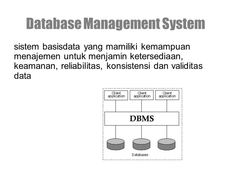 sistem basisdata yang mamiliki kemampuan menajemen untuk menjamin ketersediaan, keamanan, reliabilitas, konsistensi dan validitas data Database Management System