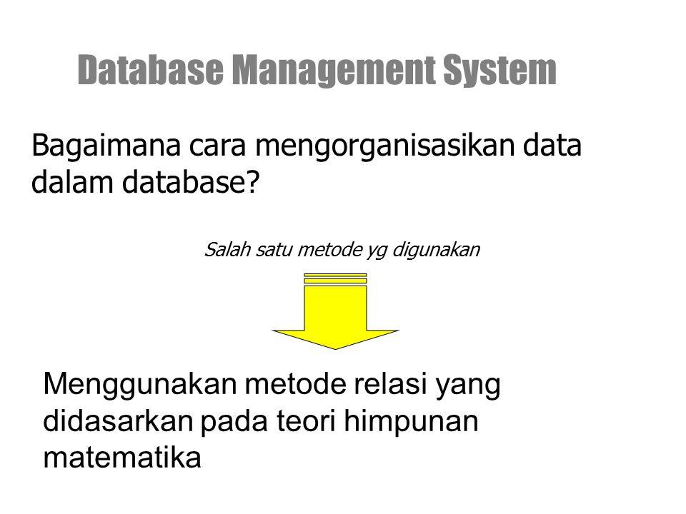 Menggunakan metode relasi yang didasarkan pada teori himpunan matematika Database Management System Bagaimana cara mengorganisasikan data dalam databa