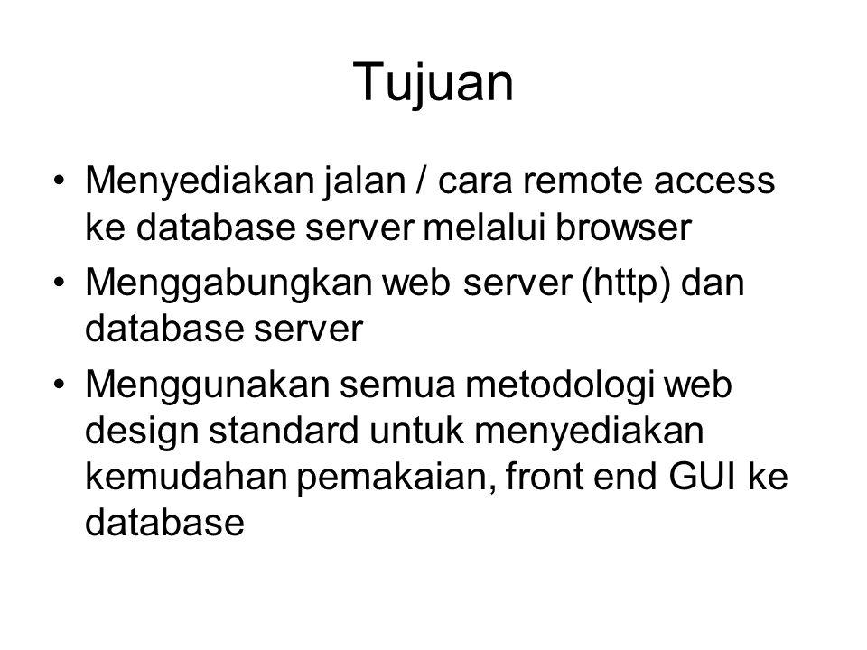 Tujuan Menyediakan jalan / cara remote access ke database server melalui browser Menggabungkan web server (http) dan database server Menggunakan semua