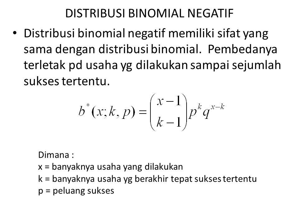 DISTRIBUSI BINOMIAL NEGATIF Distribusi binomial negatif memiliki sifat yang sama dengan distribusi binomial. Pembedanya terletak pd usaha yg dilakukan