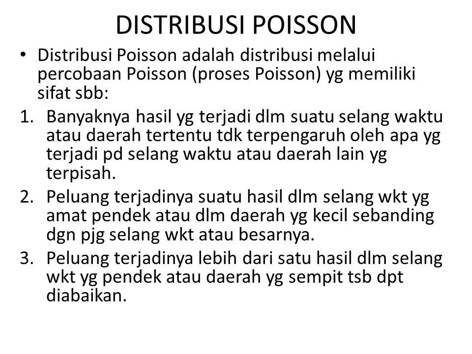 DISTRIBUSI POISSON Distribusi Poisson adalah distribusi melalui percobaan Poisson (proses Poisson) yg memiliki sifat sbb: 1.Banyaknya hasil yg terjadi