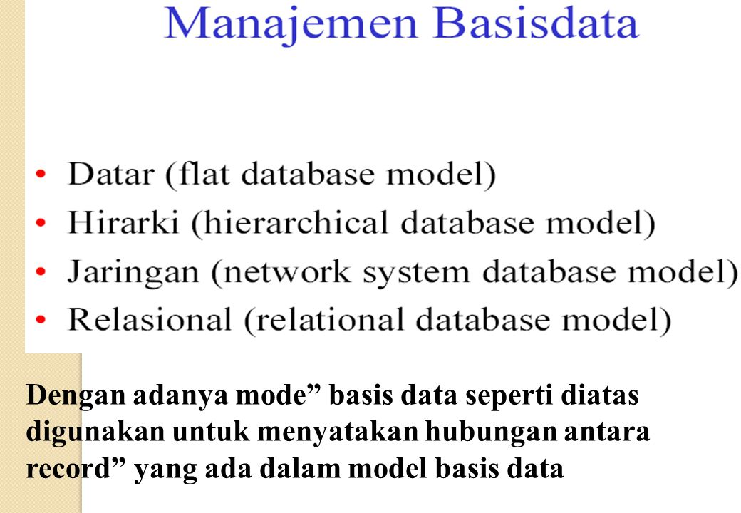 "Dengan adanya mode"" basis data seperti diatas digunakan untuk menyatakan hubungan antara record"" yang ada dalam model basis data"