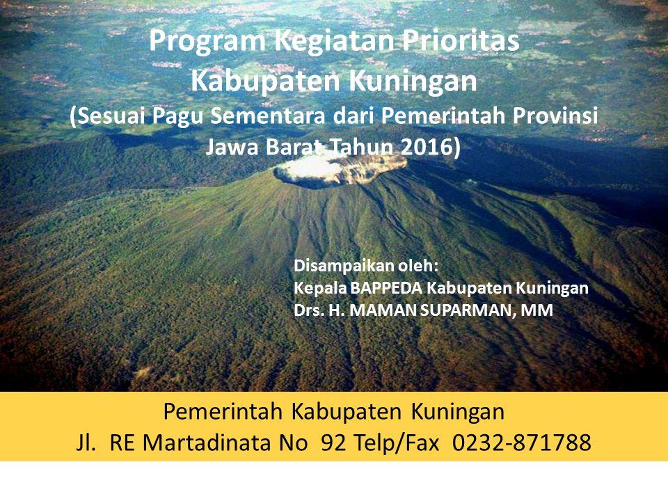 Program Kegiatan Prioritas Kabupaten Kuningan (Sesuai Pagu Sementara dari Pemerintah Provinsi Jawa Barat Tahun 2016) Pemerintah Kabupaten Kuningan Jl.