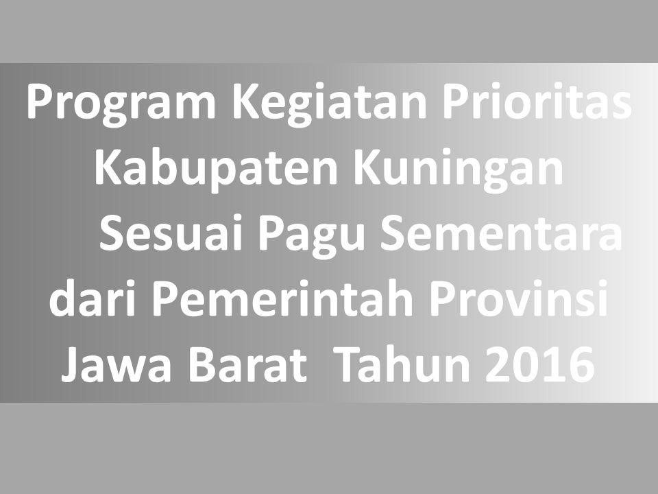 Program Kegiatan Prioritas Kabupaten Kuningan Sesuai Pagu Sementara dari Pemerintah Provinsi Jawa Barat Tahun 2016