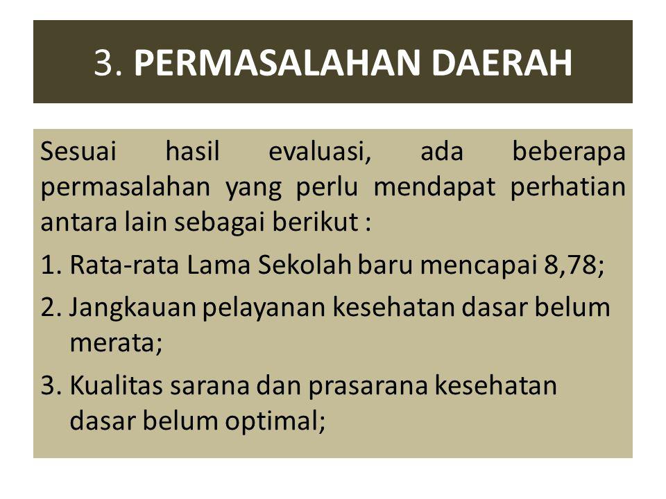 3. PERMASALAHAN DAERAH Sesuai hasil evaluasi, ada beberapa permasalahan yang perlu mendapat perhatian antara lain sebagai berikut : 1. Rata-rata Lama