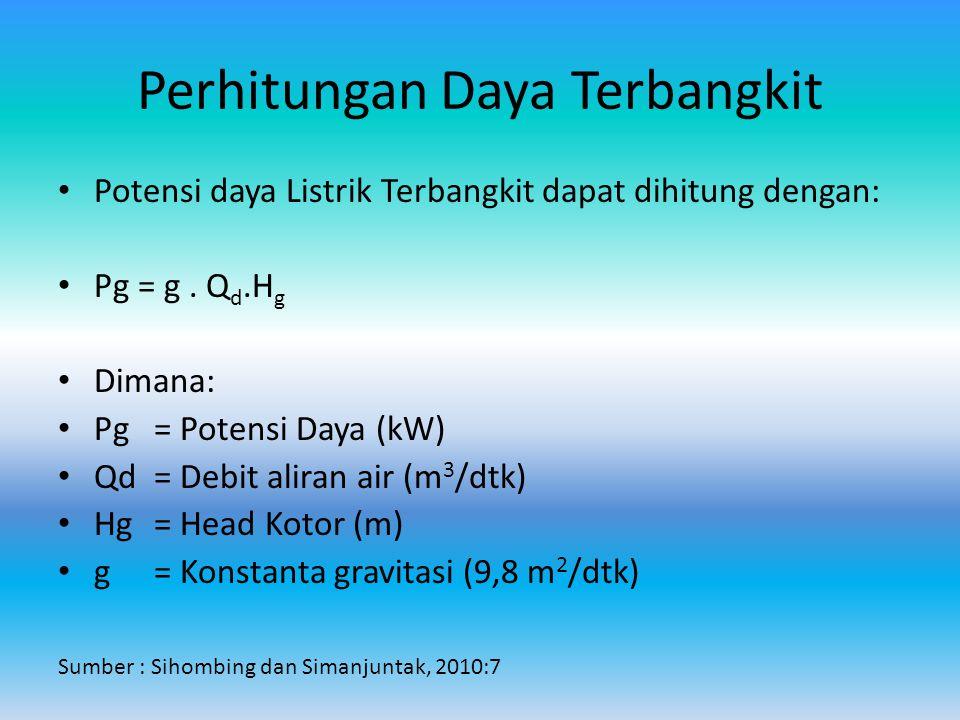 Perhitungan Daya Terbangkit Potensi daya Listrik Terbangkit dapat dihitung dengan: Pg = g.