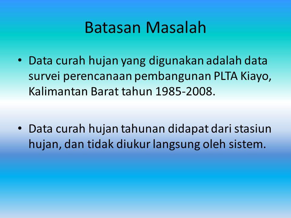 Batasan Masalah Data curah hujan yang digunakan adalah data survei perencanaan pembangunan PLTA Kiayo, Kalimantan Barat tahun 1985-2008. Data curah hu