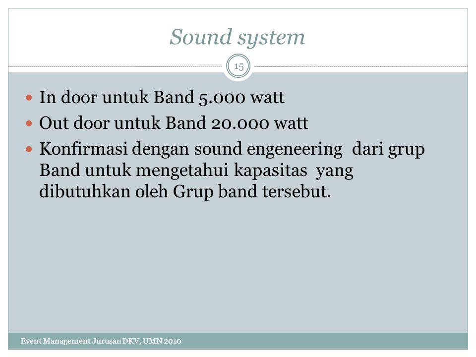 Sound system In door untuk Band 5.000 watt Out door untuk Band 20.000 watt Konfirmasi dengan sound engeneering dari grup Band untuk mengetahui kapasit