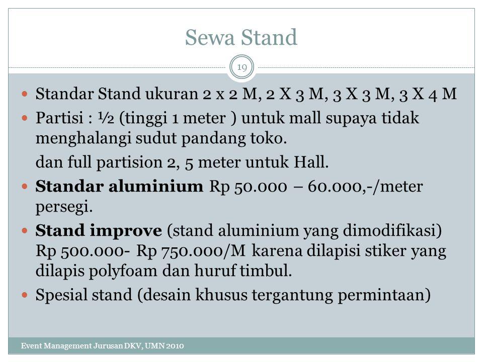 Sewa Stand Standar Stand ukuran 2 x 2 M, 2 X 3 M, 3 X 3 M, 3 X 4 M Partisi : ½ (tinggi 1 meter ) untuk mall supaya tidak menghalangi sudut pandang tok