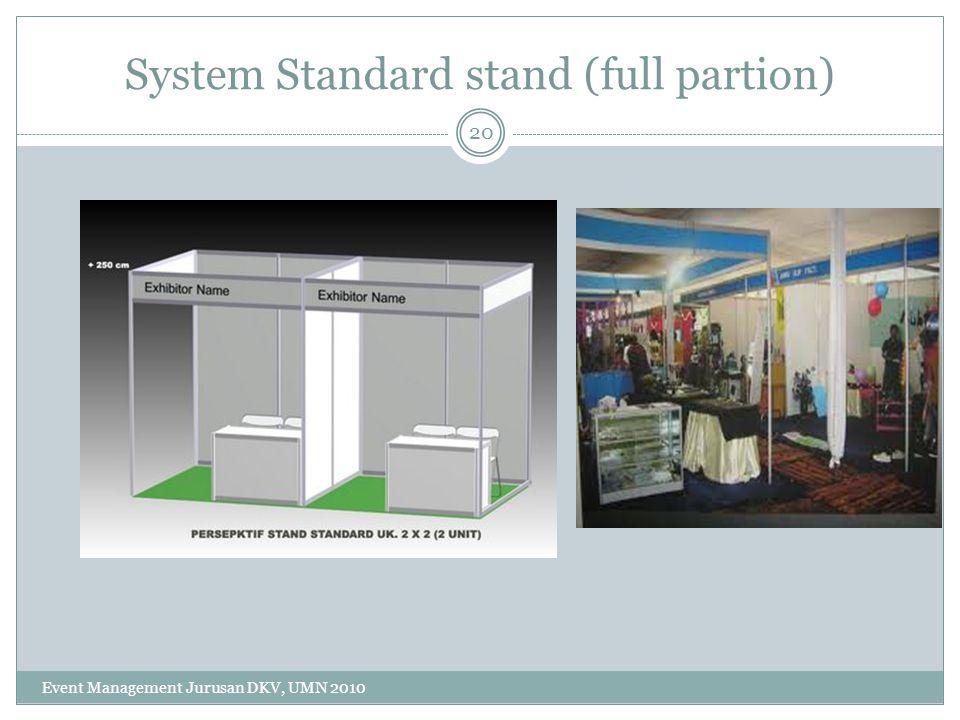 System Standard stand (full partion) 20 Event Management Jurusan DKV, UMN 2010