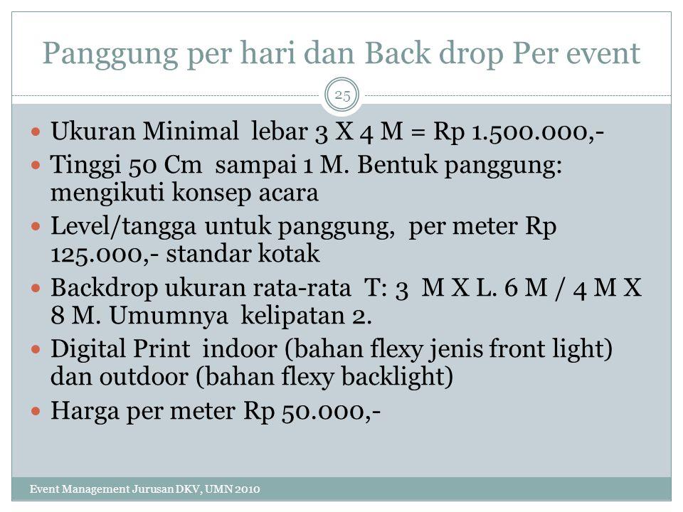 Panggung per hari dan Back drop Per event Ukuran Minimal lebar 3 X 4 M = Rp 1.500.000,- Tinggi 50 Cm sampai 1 M. Bentuk panggung: mengikuti konsep aca