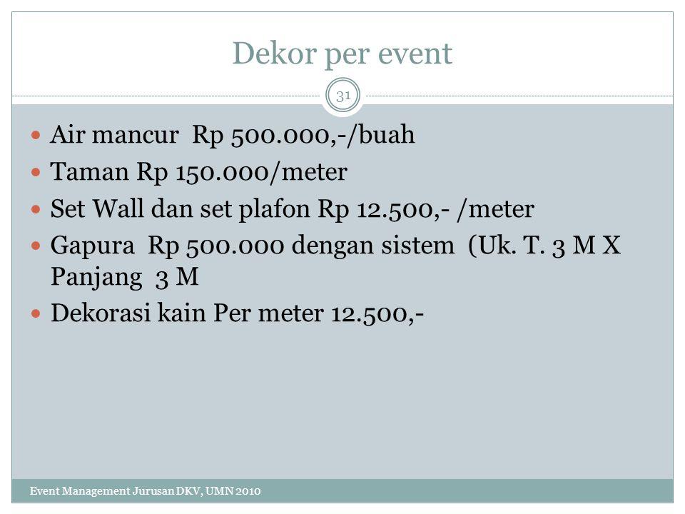 Dekor per event Air mancur Rp 500.000,-/buah Taman Rp 150.000/meter Set Wall dan set plafon Rp 12.500,- /meter Gapura Rp 500.000 dengan sistem (Uk. T.