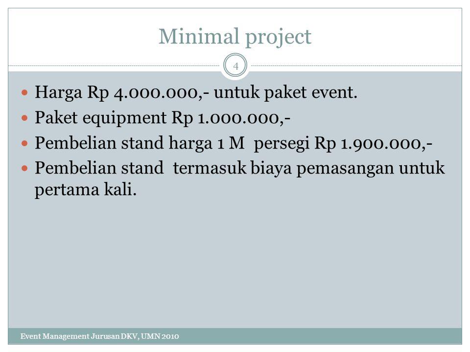 Minimal project Harga Rp 4.000.000,- untuk paket event. Paket equipment Rp 1.000.000,- Pembelian stand harga 1 M persegi Rp 1.900.000,- Pembelian stan