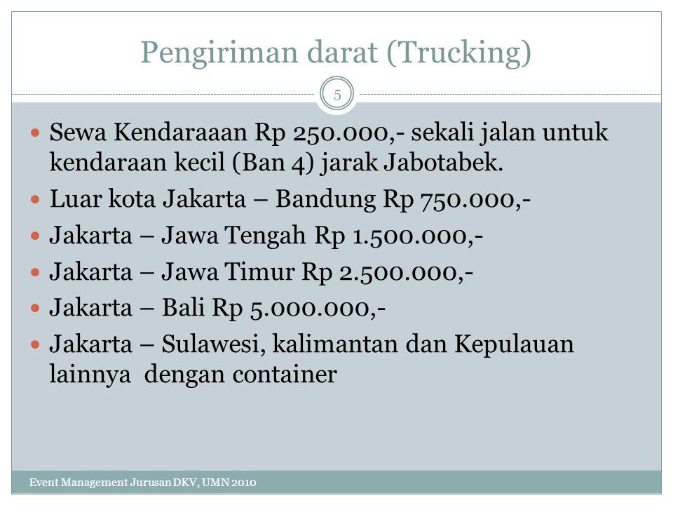 Pengiriman perlengkapan event dengan menggunakan Kendaraan truck Ban 6 (4 ban di belakang kendaraan) Dalam Kota Rp 400.000,- Bandung Rp 1.000.000,- Jawa Tengah Rp 3.000.000,- Jawa Timur Rp 4.000.000,- Bali Rp 6.000.000,- 6 Event Management Jurusan DKV, UMN 2010