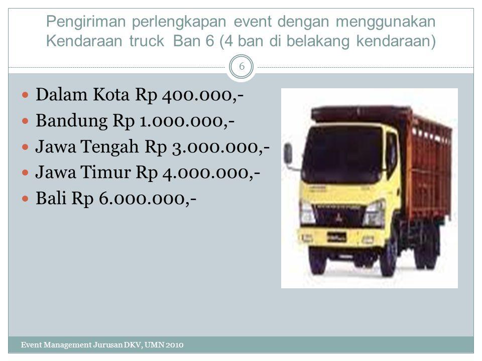 Pengiriman perlengkapan event dengan menggunakan Kendaraan truck Ban 6 (4 ban di belakang kendaraan) Dalam Kota Rp 400.000,- Bandung Rp 1.000.000,- Ja