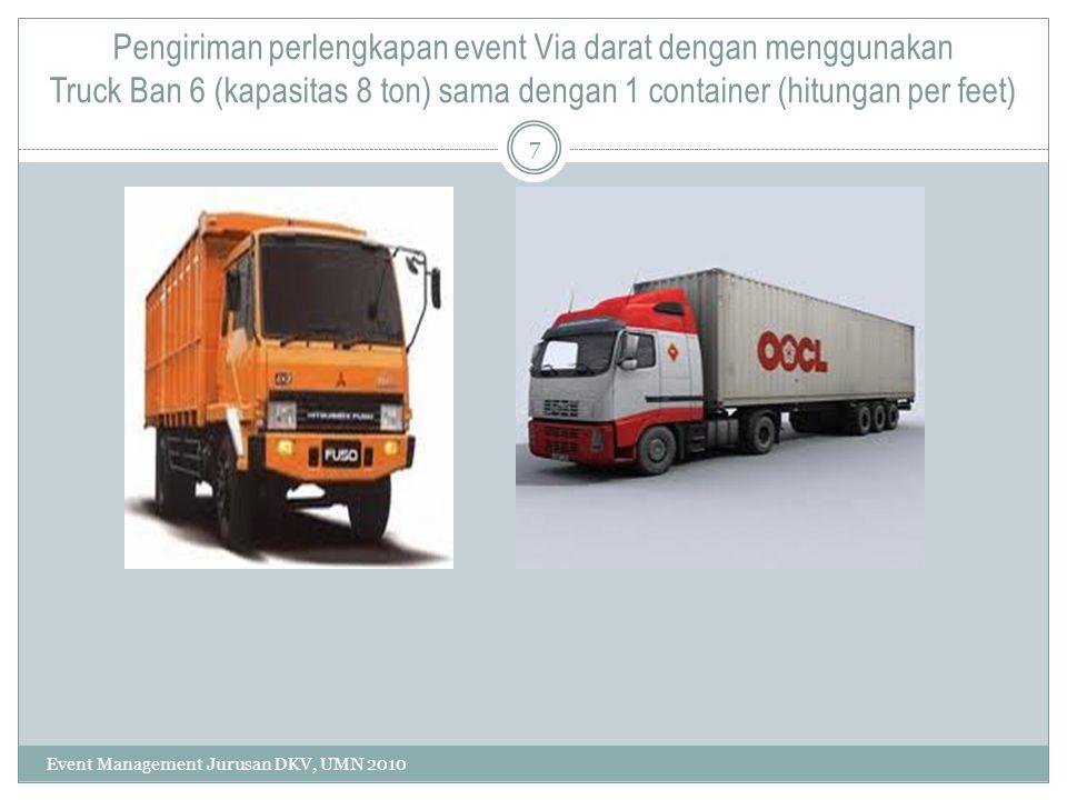 Pengiriman perlengkapan event Via darat dengan menggunakan Truck Ban 6 (kapasitas 8 ton) sama dengan 1 container (hitungan per feet) 7 Event Managemen