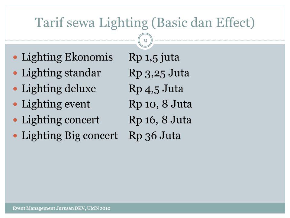 Tarif sewa Lighting (Basic dan Effect) Lighting Ekonomis Rp 1,5 juta Lighting standar Rp 3,25 Juta Lighting deluxe Rp 4,5 Juta Lighting event Rp 10, 8