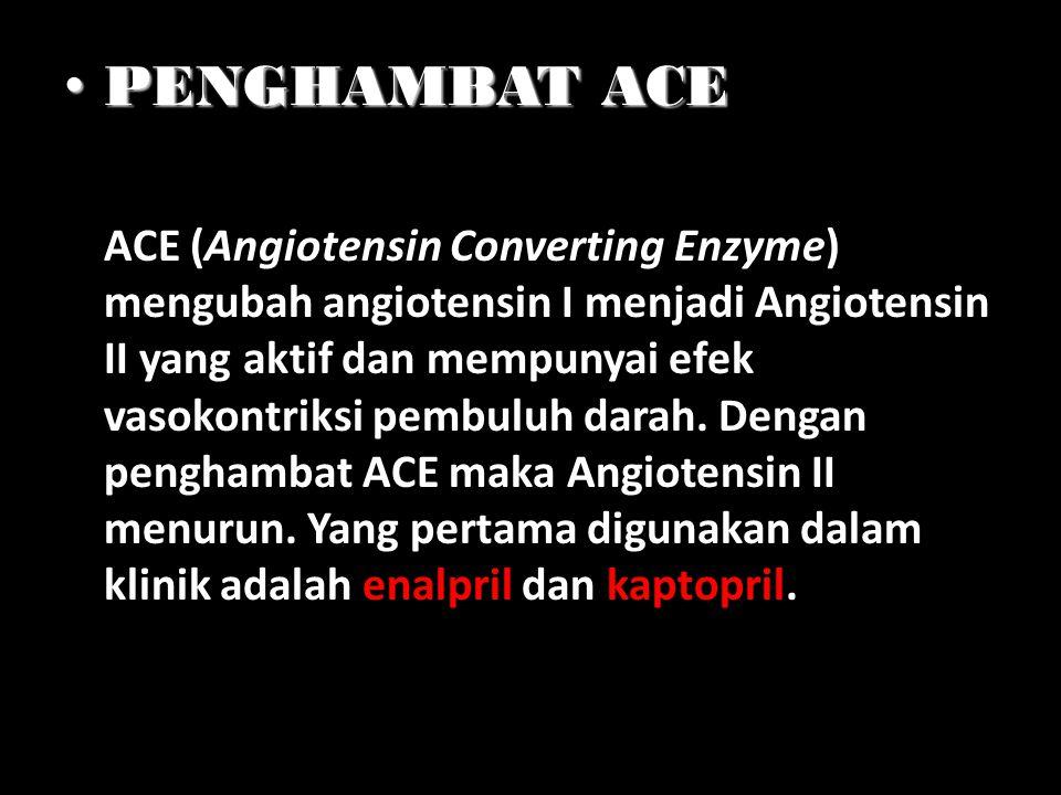 PENGHAMBAT ACE PENGHAMBAT ACE ACE (Angiotensin Converting Enzyme) mengubah angiotensin I menjadi Angiotensin II yang aktif dan mempunyai efek vasokont