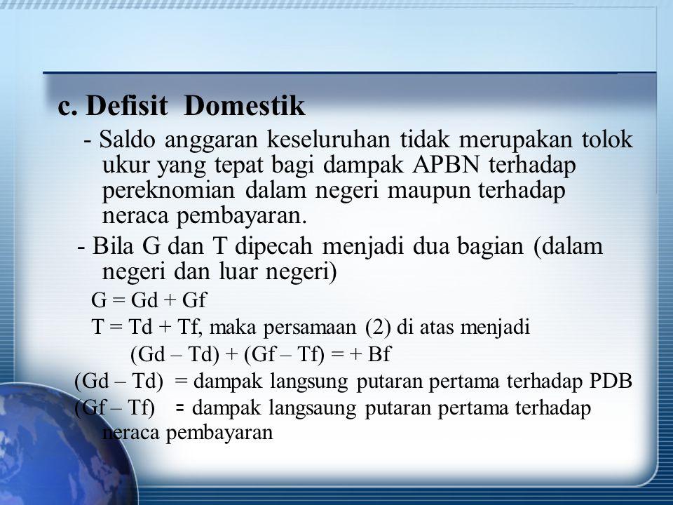 c. Defisit Domestik - Saldo anggaran keseluruhan tidak merupakan tolok ukur yang tepat bagi dampak APBN terhadap pereknomian dalam negeri maupun terha