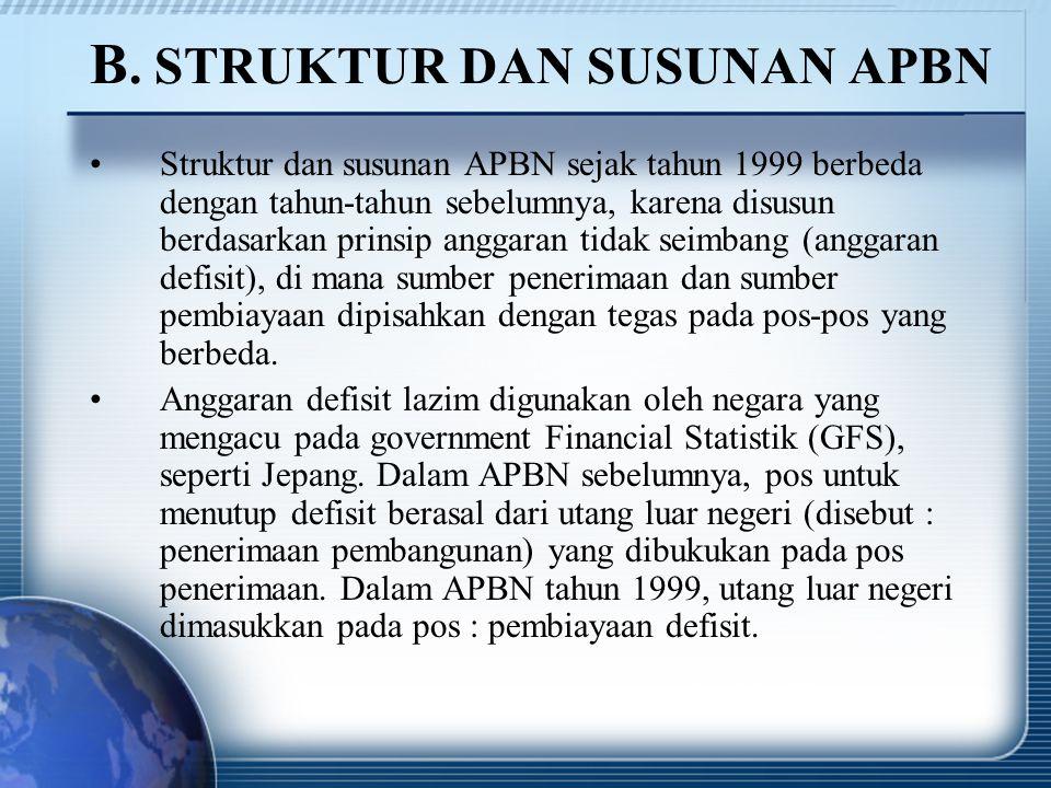 B. STRUKTUR DAN SUSUNAN APBN Struktur dan susunan APBN sejak tahun 1999 berbeda dengan tahun-tahun sebelumnya, karena disusun berdasarkan prinsip angg