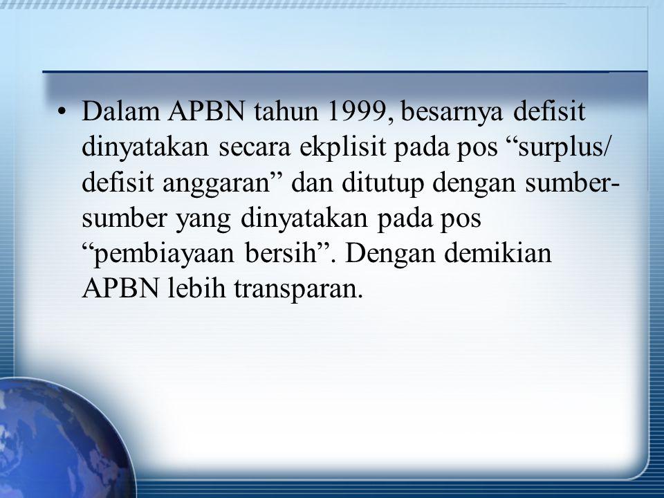 """Dalam APBN tahun 1999, besarnya defisit dinyatakan secara ekplisit pada pos """"surplus/ defisit anggaran"""" dan ditutup dengan sumber- sumber yang dinyata"""